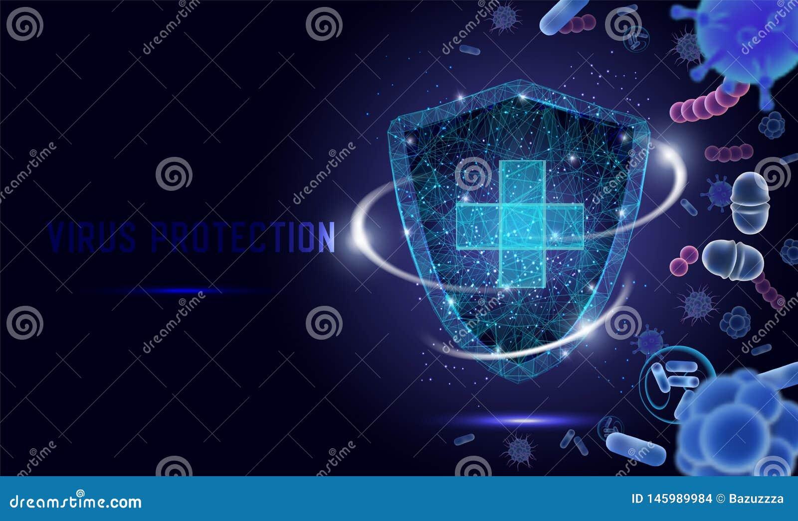 Bandera de la web del vector de la protección del virus, plantilla de la página de la página web
