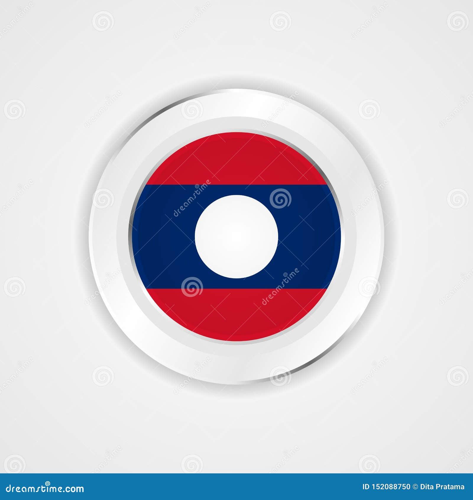 Bandera de Laos en icono brillante