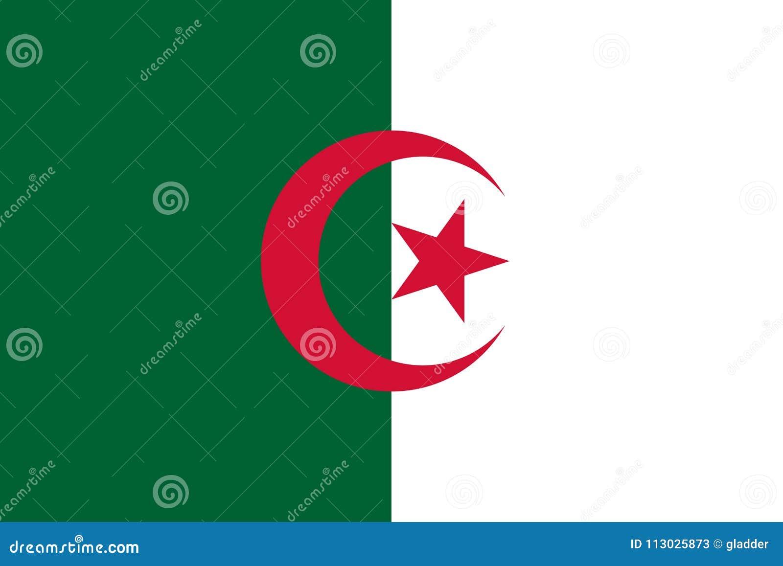 Bandera de los colores y de las proporciones oficiales, imagen de Argelia