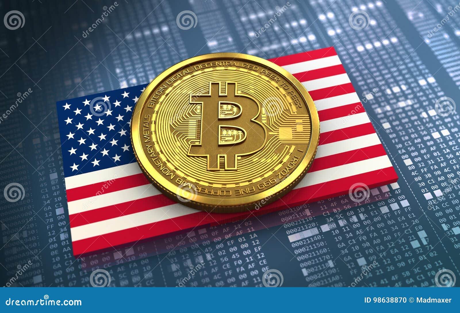 Bandera de los E.E.U.U. del bitcoin 3d