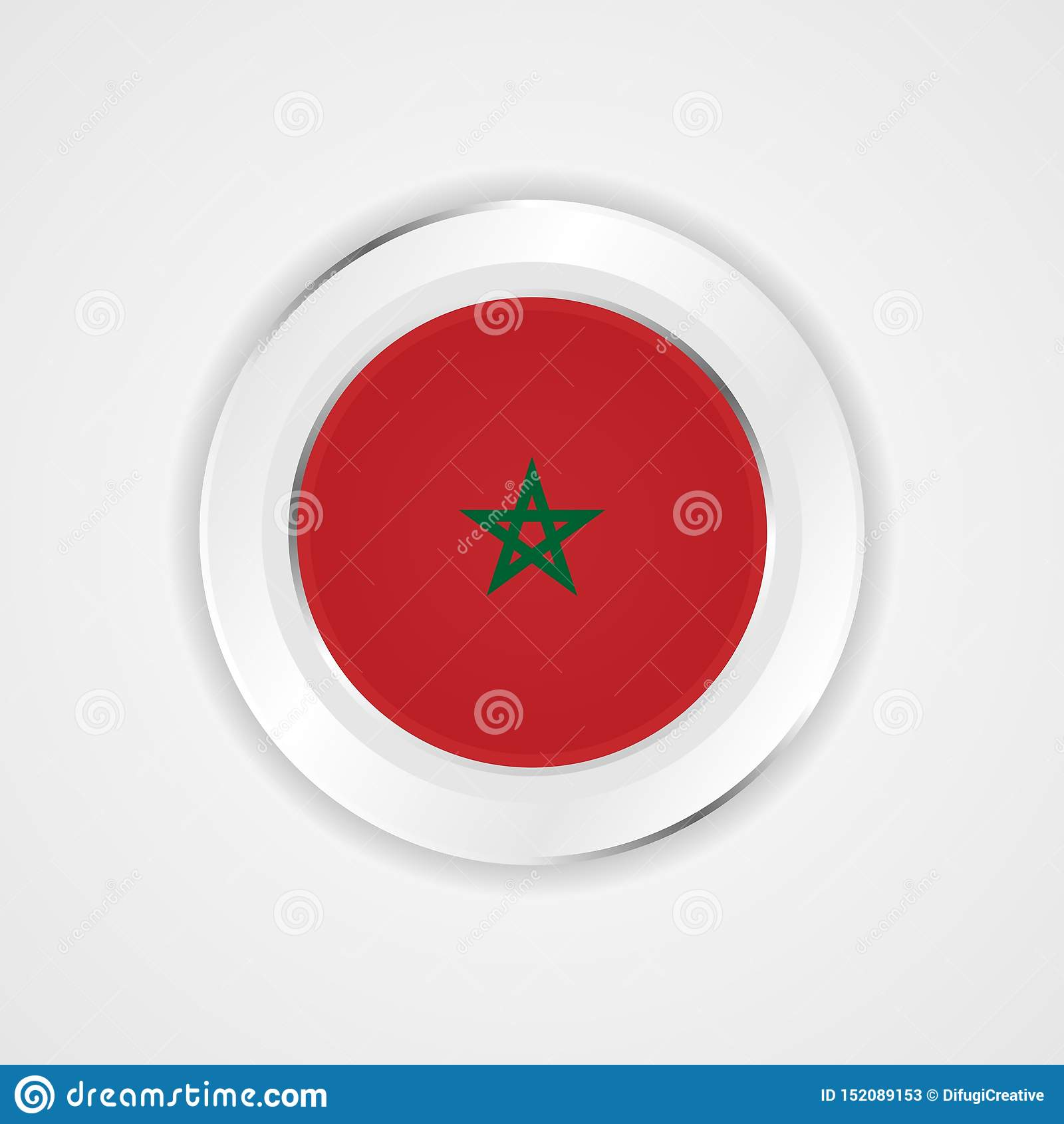 Bandera de Marruecos en icono brillante