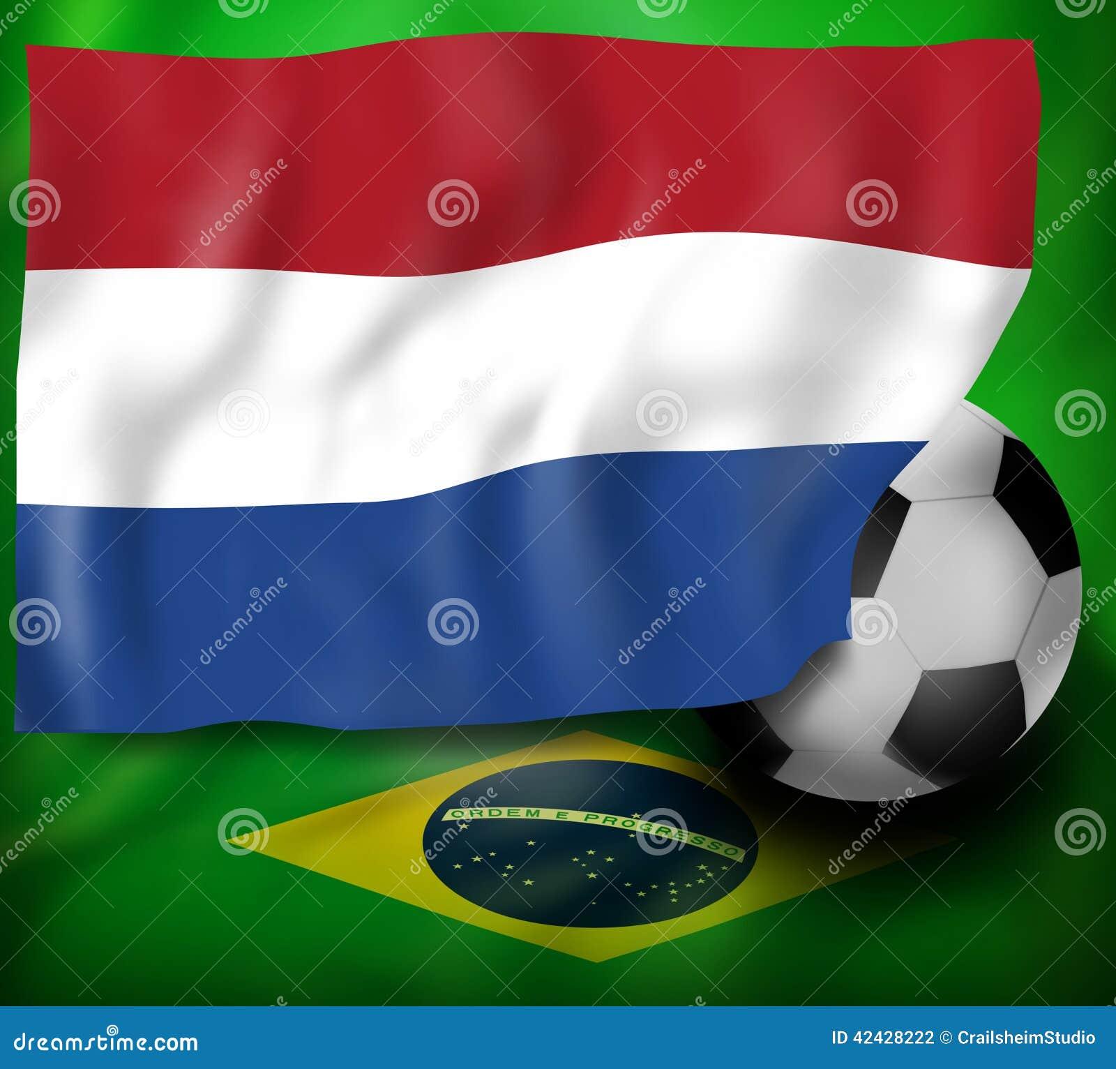 Bandera de Netherland y bandera del fondo del Brasil