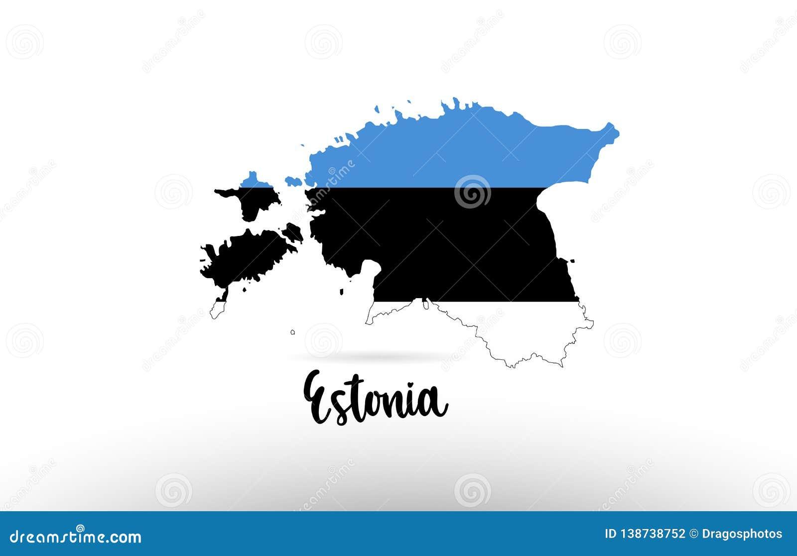 Bandera de país de Estonia dentro del logotipo del icono del diseño del contorno del mapa
