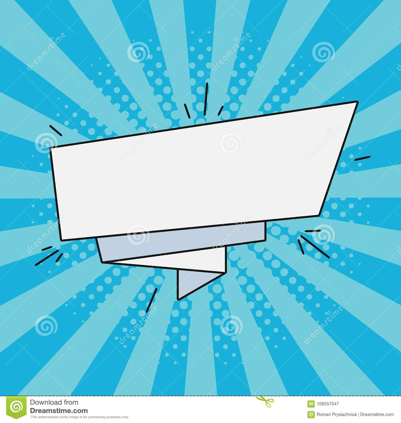 Bandera de papel cómica para el texto Burbuja vacía retra del discurso, etiqueta de la historieta Ejemplo en estilo del arte pop