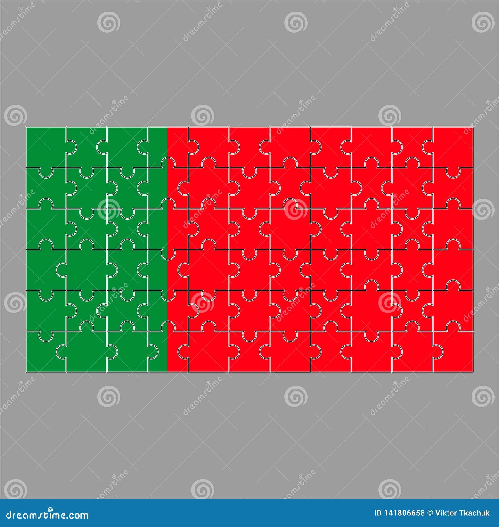 Bandera de Portugal del rompecabezas en un fondo gris