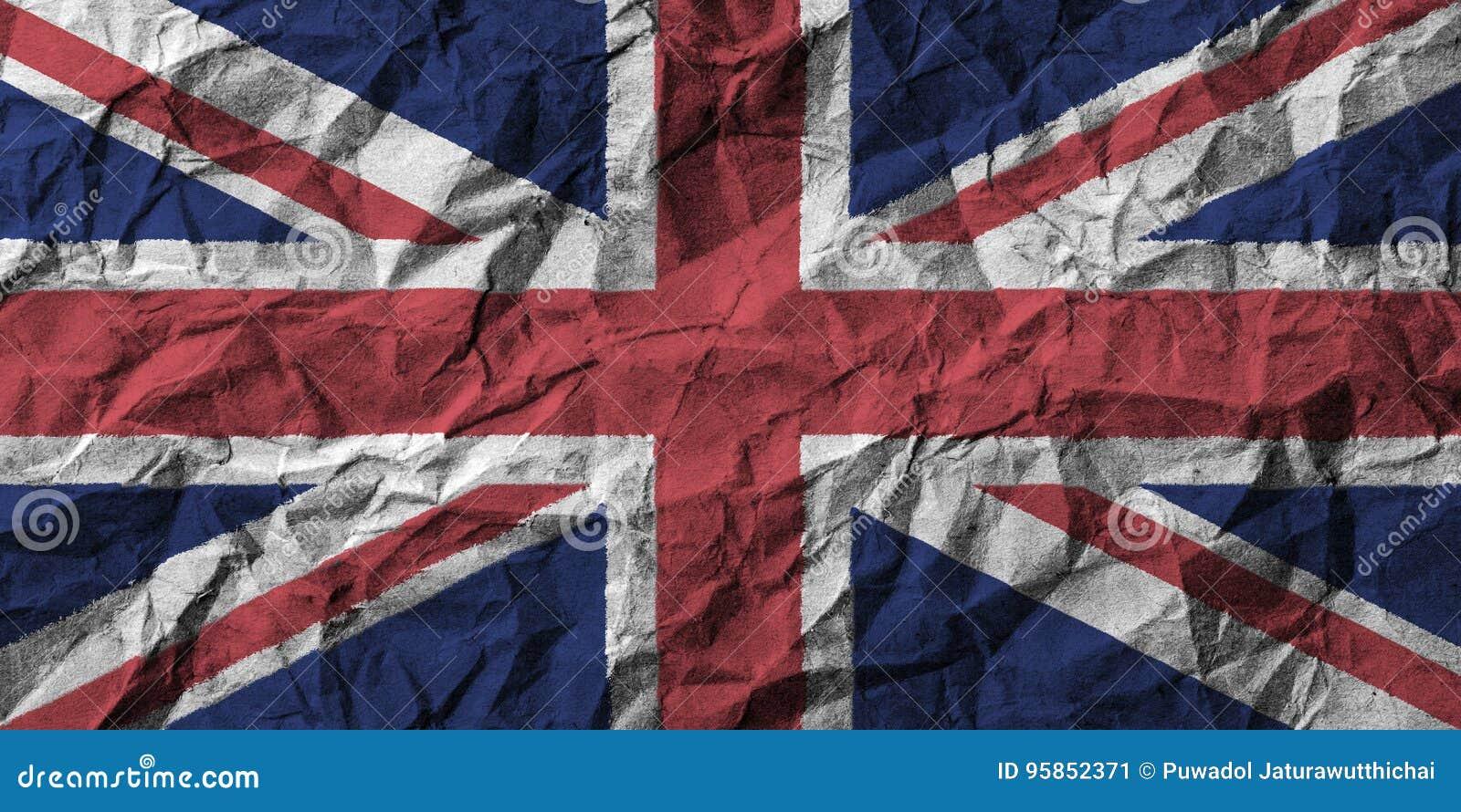 Bandera de Reino Unido con el alto detalle del papel arrugado ilustración 3D