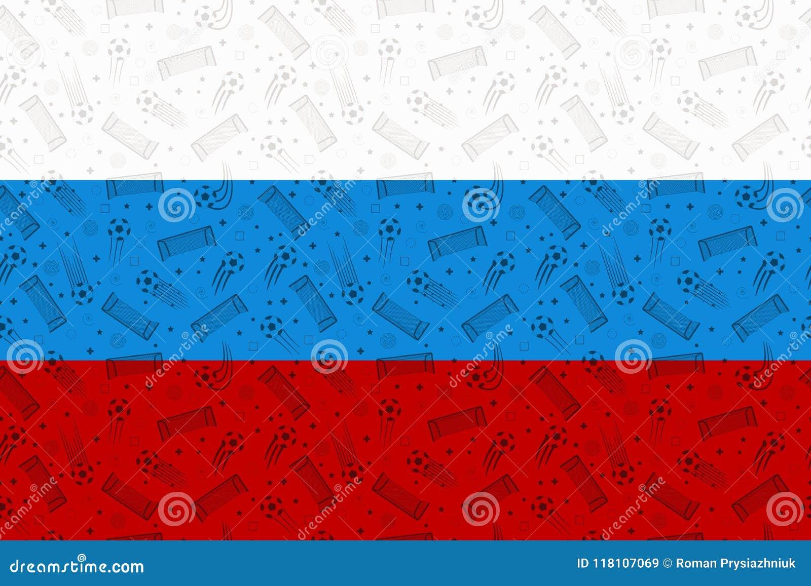 Bandera De Rusia Adornada Con Símbolos Del Fútbol El País Ruso ...
