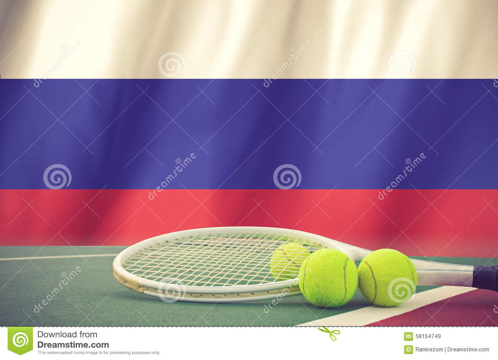 Tenis pelota stock de ilustracion ilustracion libre de stock de - Bandera De Rusia Y Pelota De Tenis