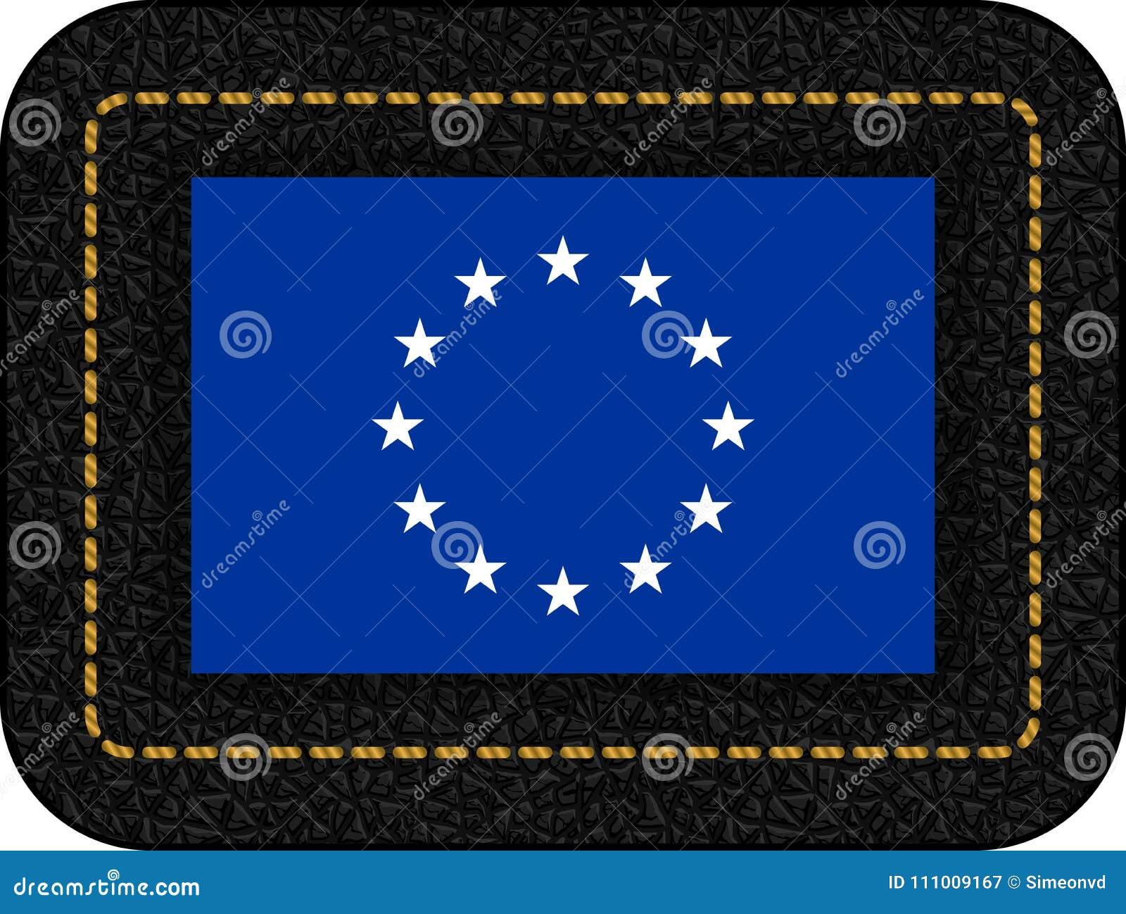 Bandera de unión europea monocromática de la versión Icono del vector en pasto negro