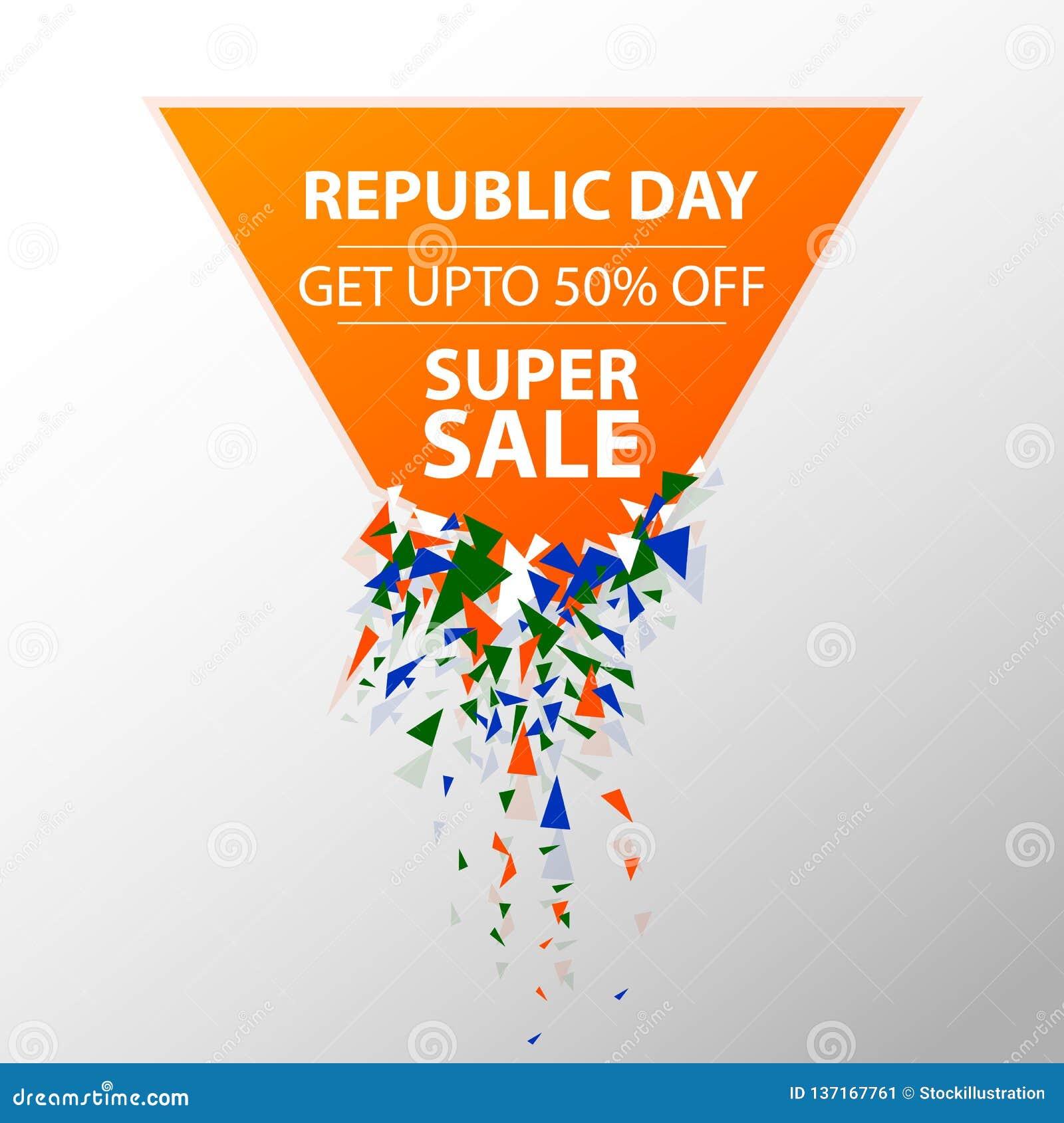 Bandera del anuncio de la promoción de venta para el 26 de enero, día feliz de la república de la India