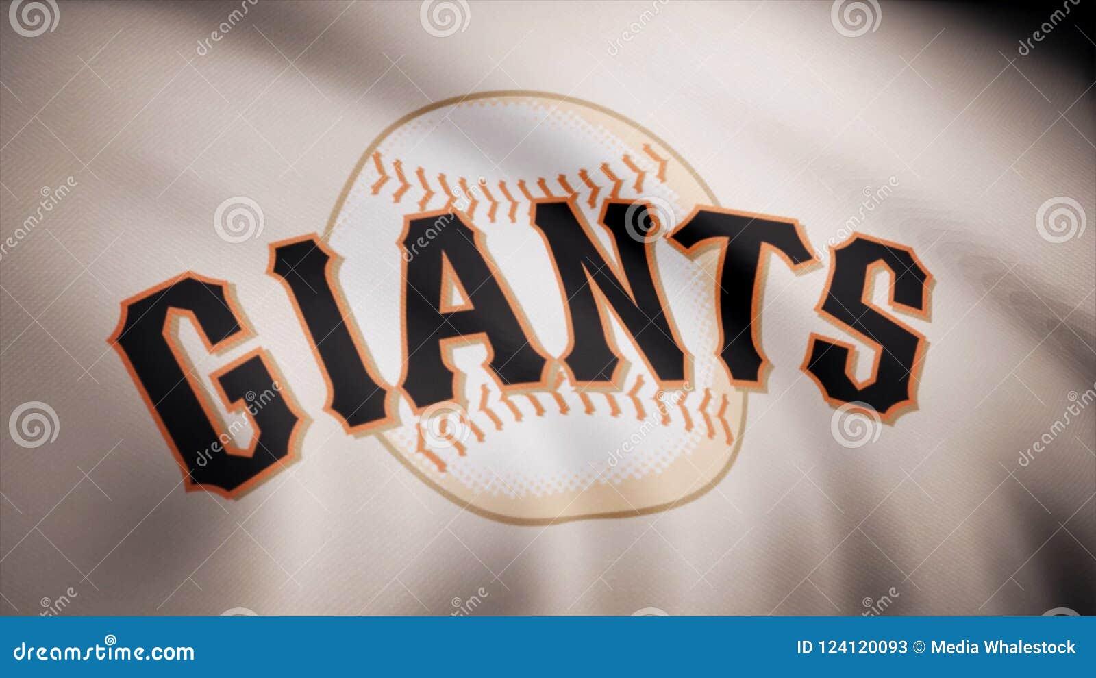 Bandera del béisbol San Francisco Giants, logotipo americano del equipo de béisbol profesional, lazo inconsútil Animación editori