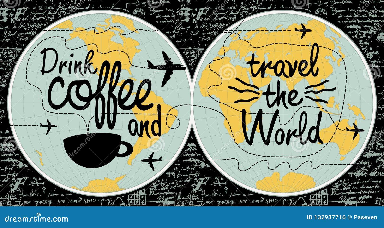 Bandera del café en el tema del viaje el mundo