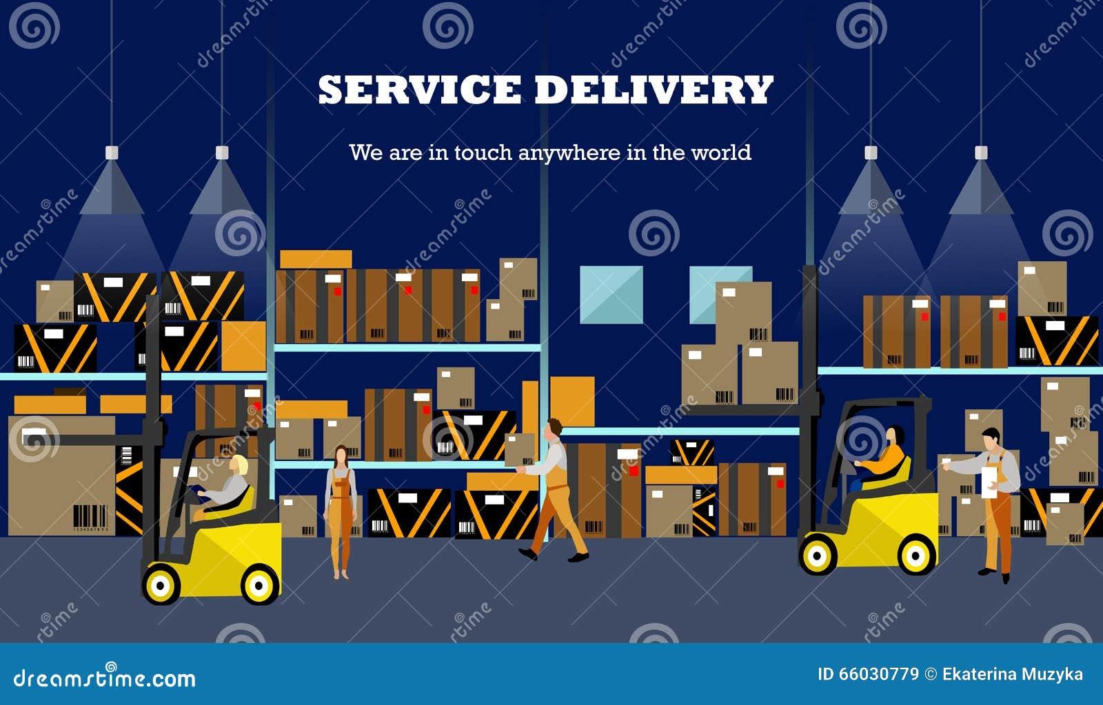 Bandera del concepto del servicio logístico y de entrega Cartel del interior de Warehouse Ejemplo del vector en diseño plano del