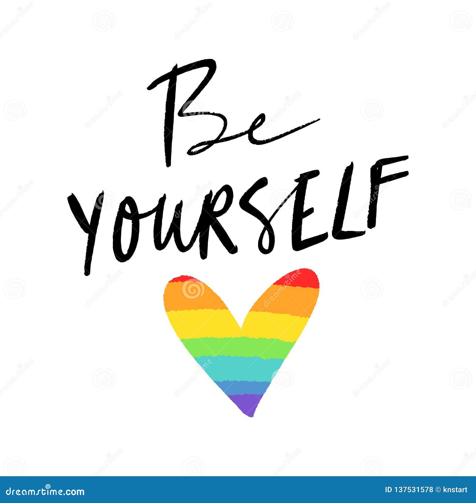 Bandera del corazón de LGBT Colores exhaustos de la mano del arco iris