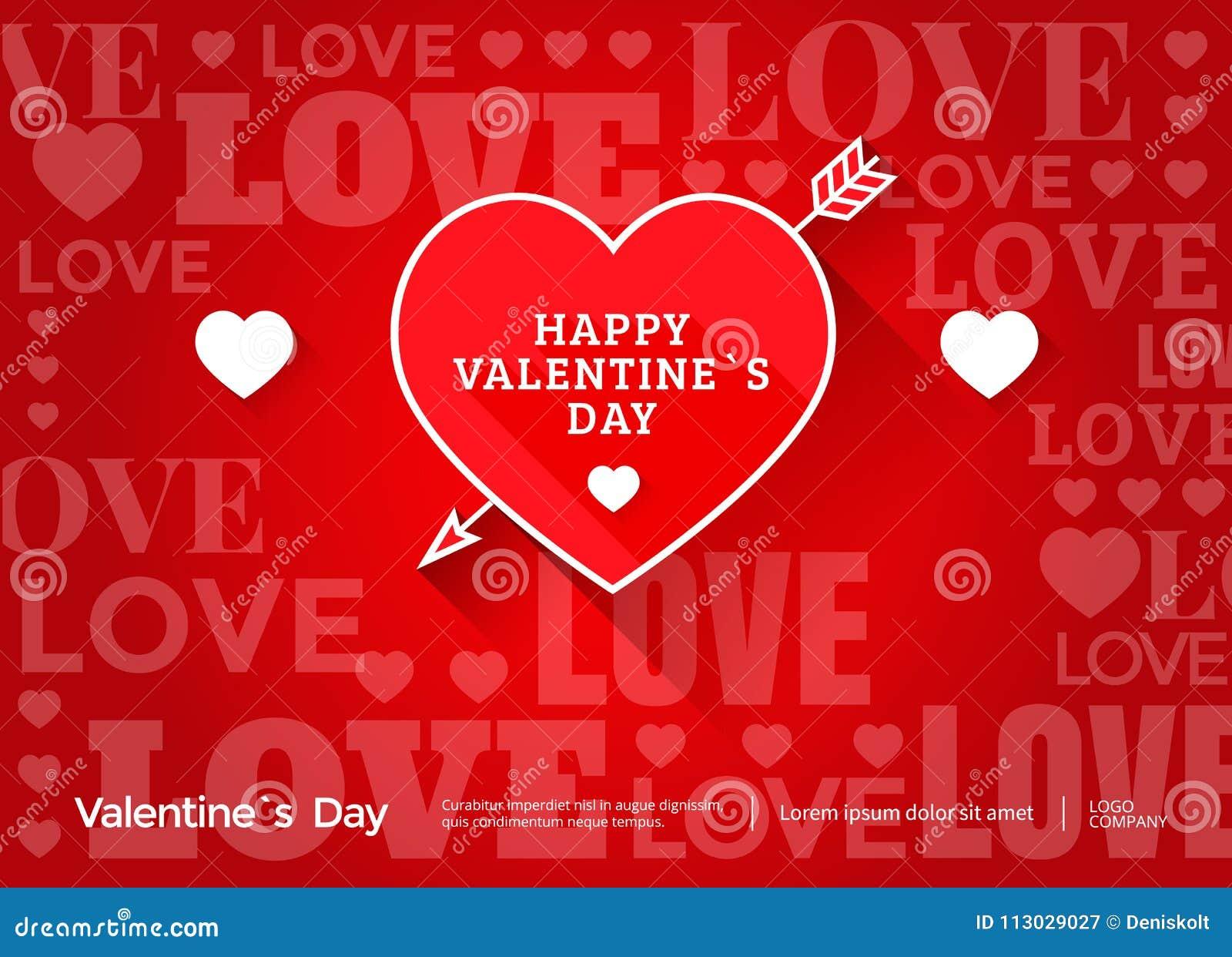 Bandera del día de tarjetas del día de San Valentín