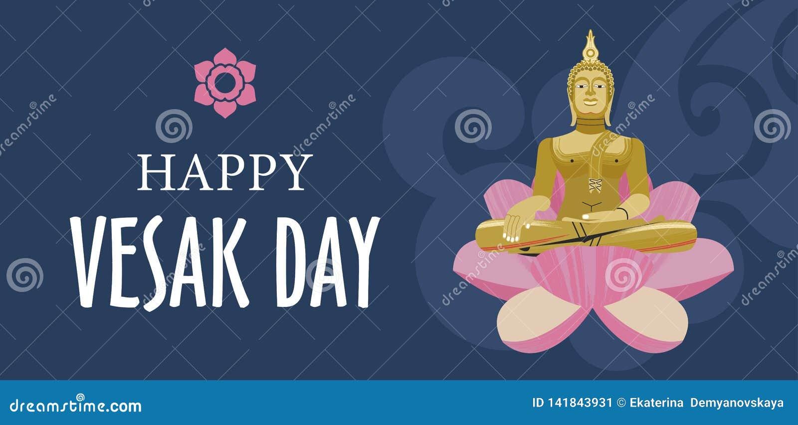 Bandera del día de Vesak con los pétalos del oro Buda y de Lotus Ilustración del vector