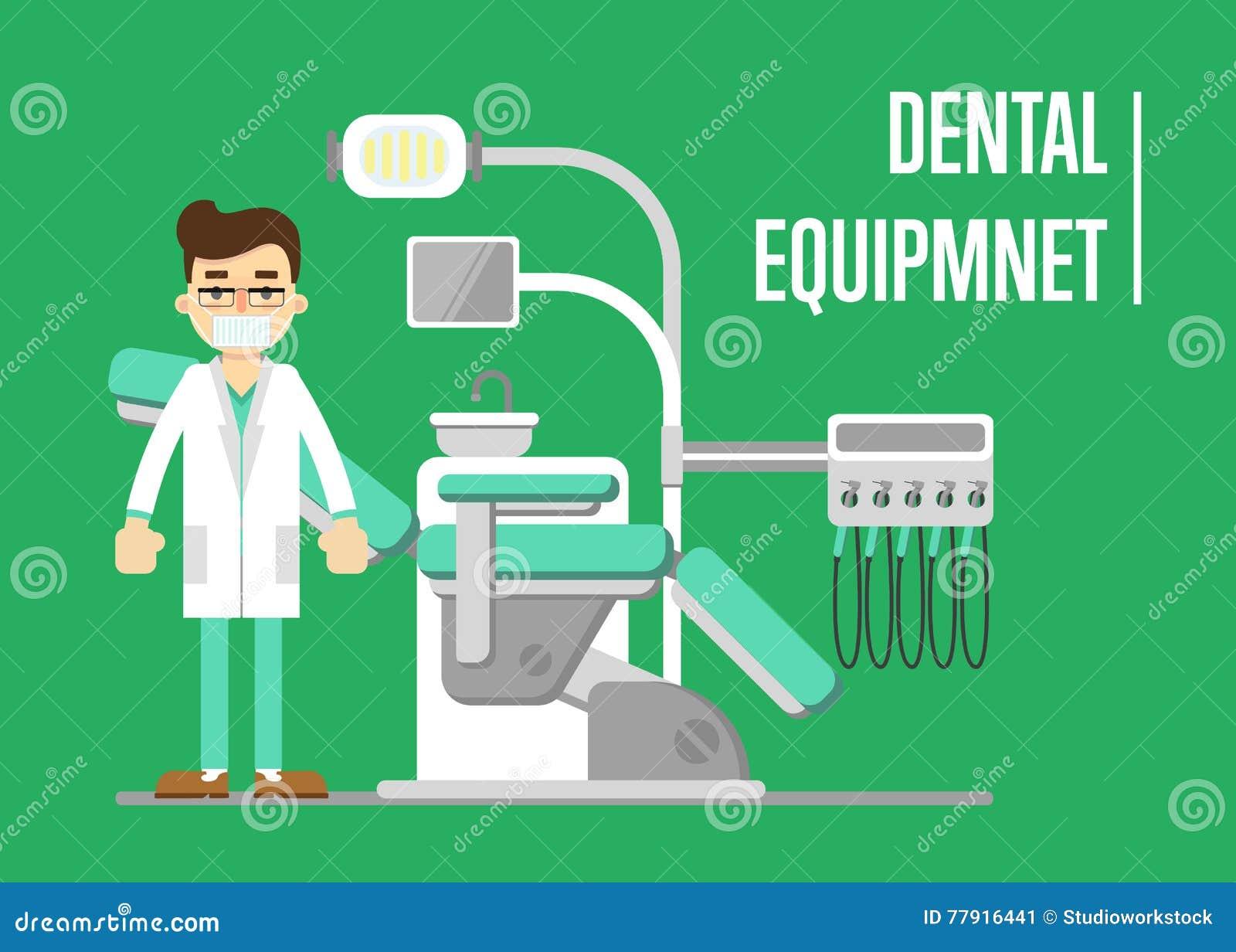 Bandera del equipo dental con el dentista