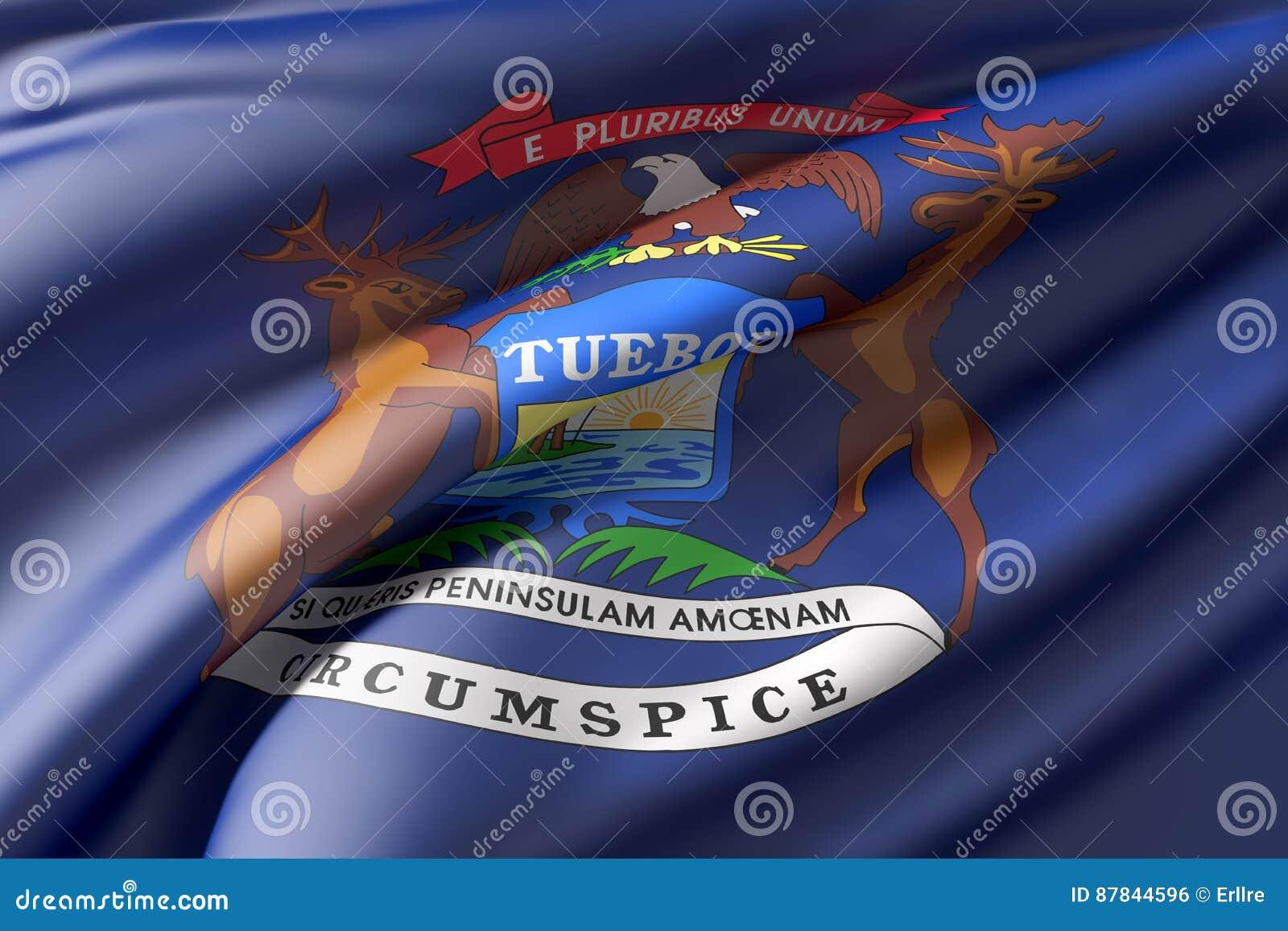 Bandera Del Estado De Michigan Stock de ilustración - Ilustración de ...