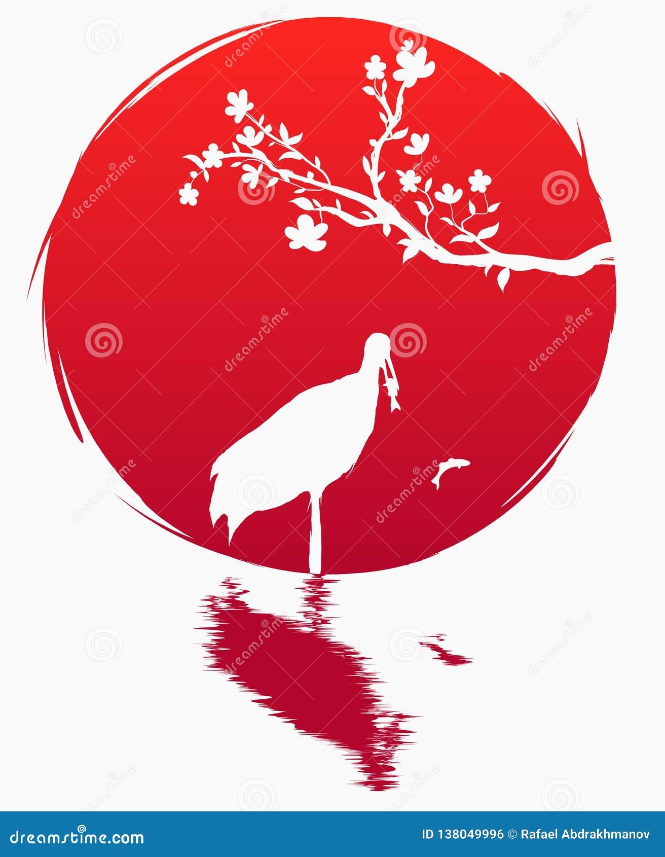 Bandera del estilo del Grunge de Japón Una rama con las flores de Sakura y una grúa japonesa con los pescados en el fondo del sol