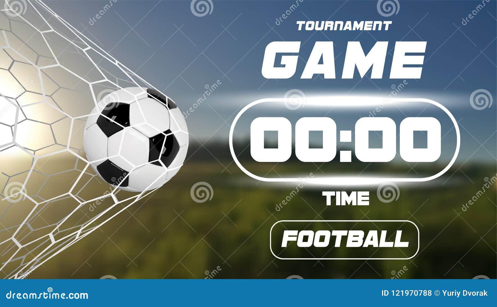 8aaa6ffc9a71d Bandera del fútbol o del fútbol con la bola 3d y marcador o contador de  tiempo en fondo verde del campo Momento de la meta del partido del juego de  fútbol ...