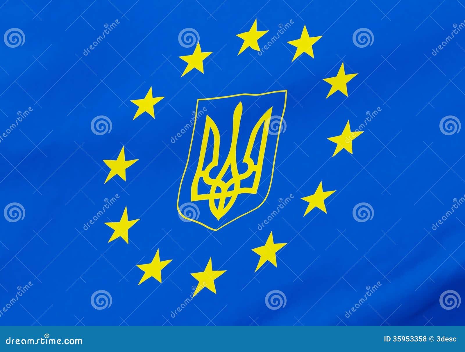 Bandera del gerb de Ucrania de la unión europea