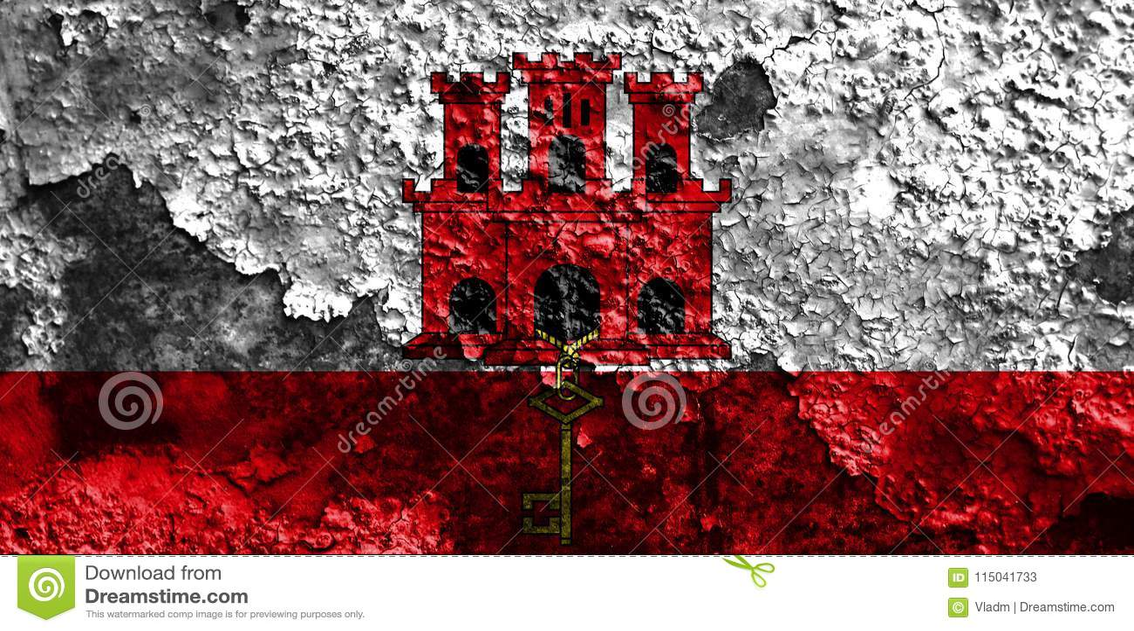 Bandera del grunge de Gibraltar, territorios de ultramar británicos, Gran Bretaña dep