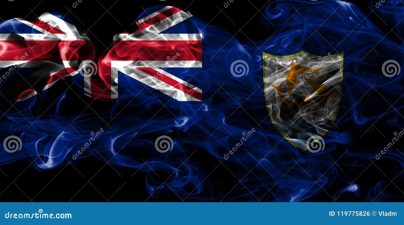 Bandera del humo de Anguila, territorios de ultramar británicos, bandera dependiente del territorio de Gran Bretaña