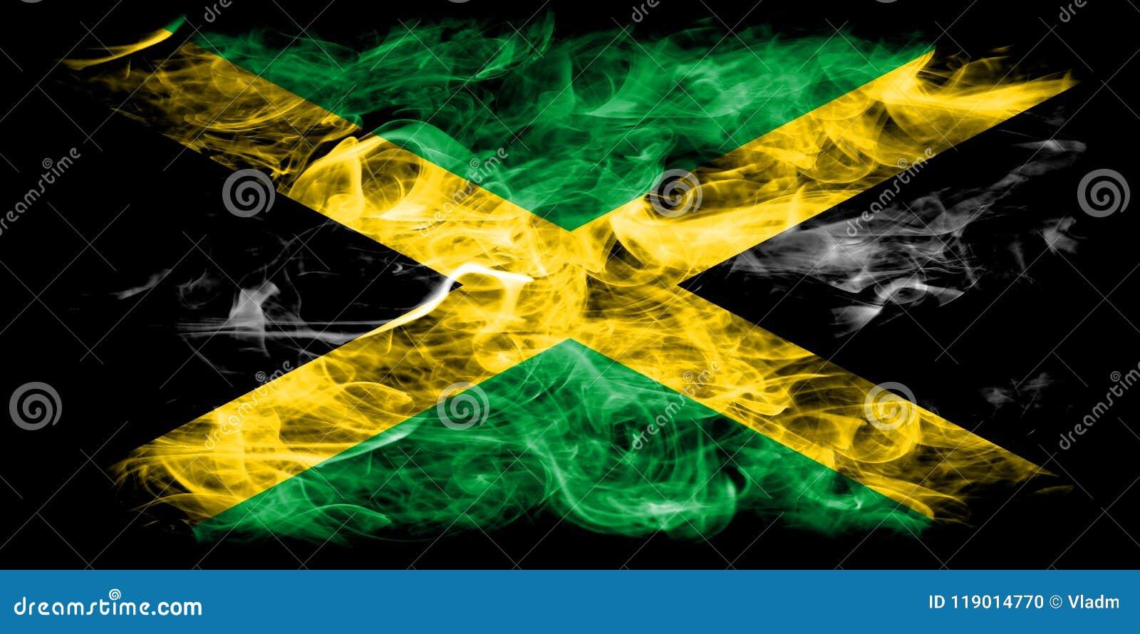 Bandera Del Humo De Jamaica En Un Fondo Negro Foto de archivo ...