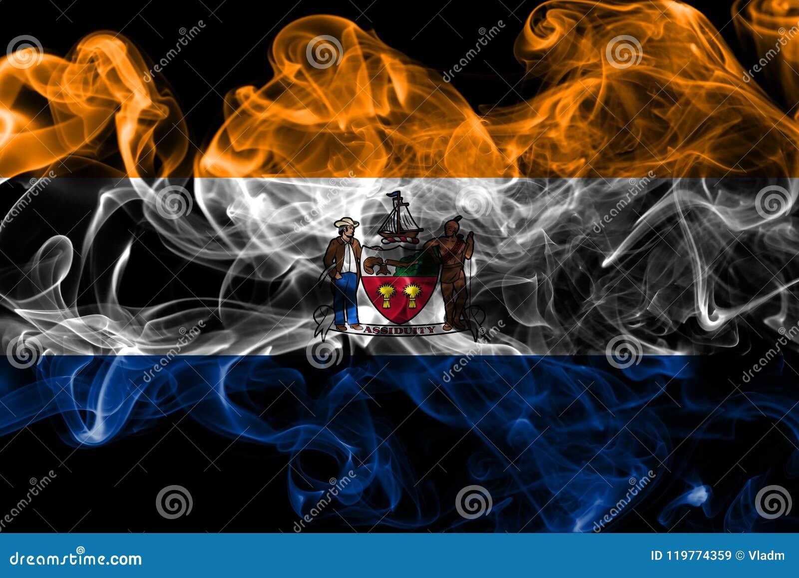 Bandera del humo de la ciudad de Albany, Estado de Nueva York, los Estados Unidos de América