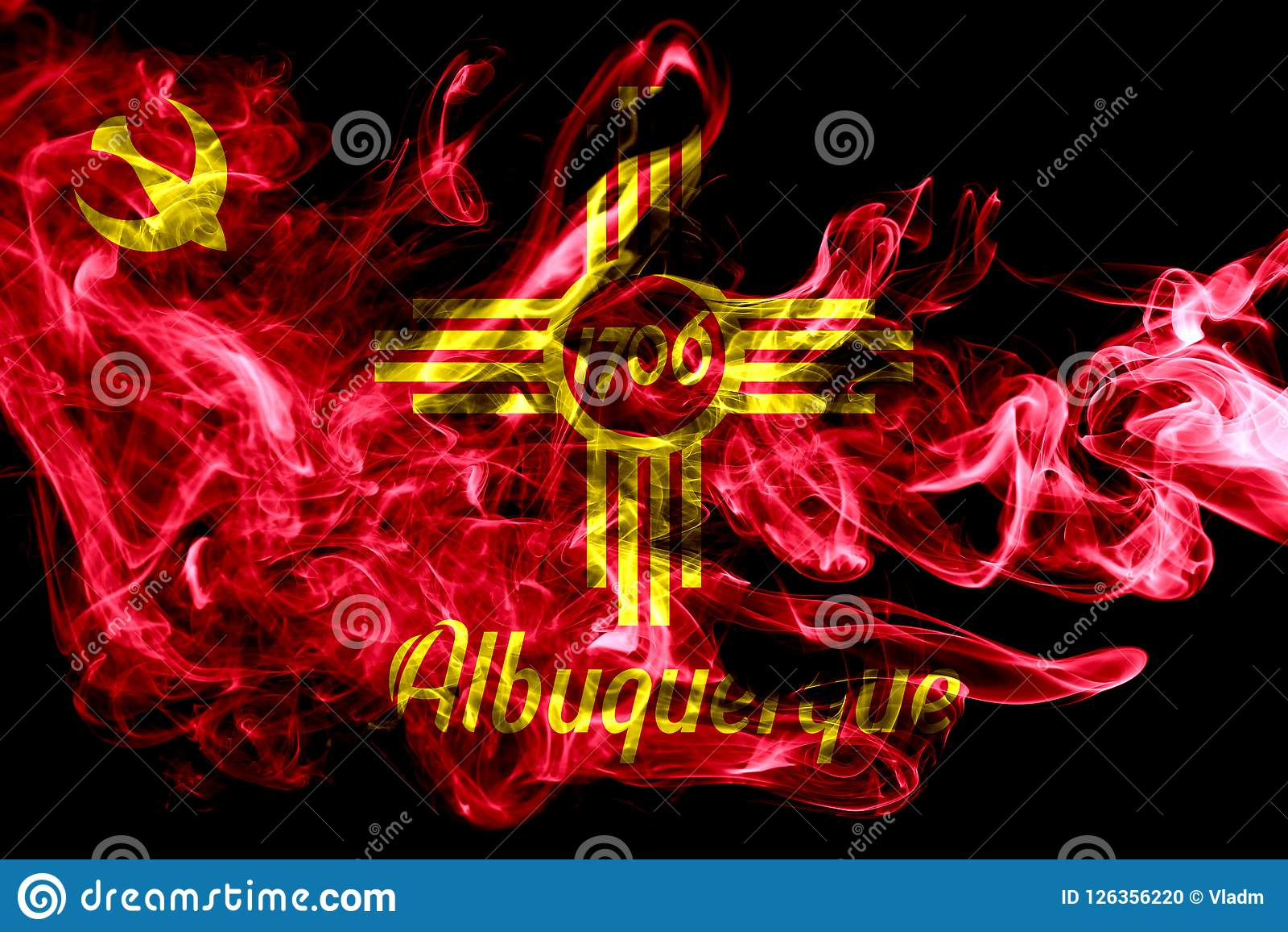 Bandera del humo de la ciudad de Albuquerque, estado de New México, Estados Unidos de
