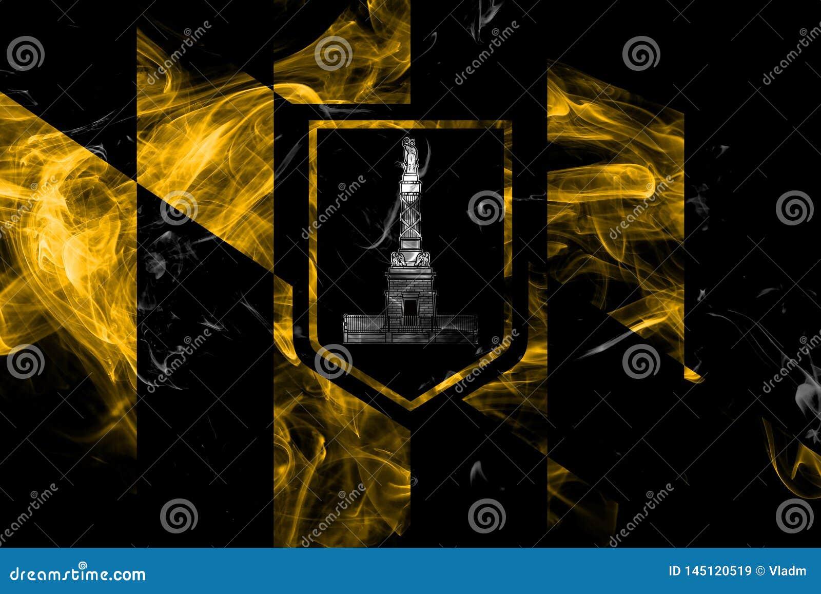 Bandera del humo de la ciudad de Baltimore, estado de Maryland, los Estados Unidos de Am?rica