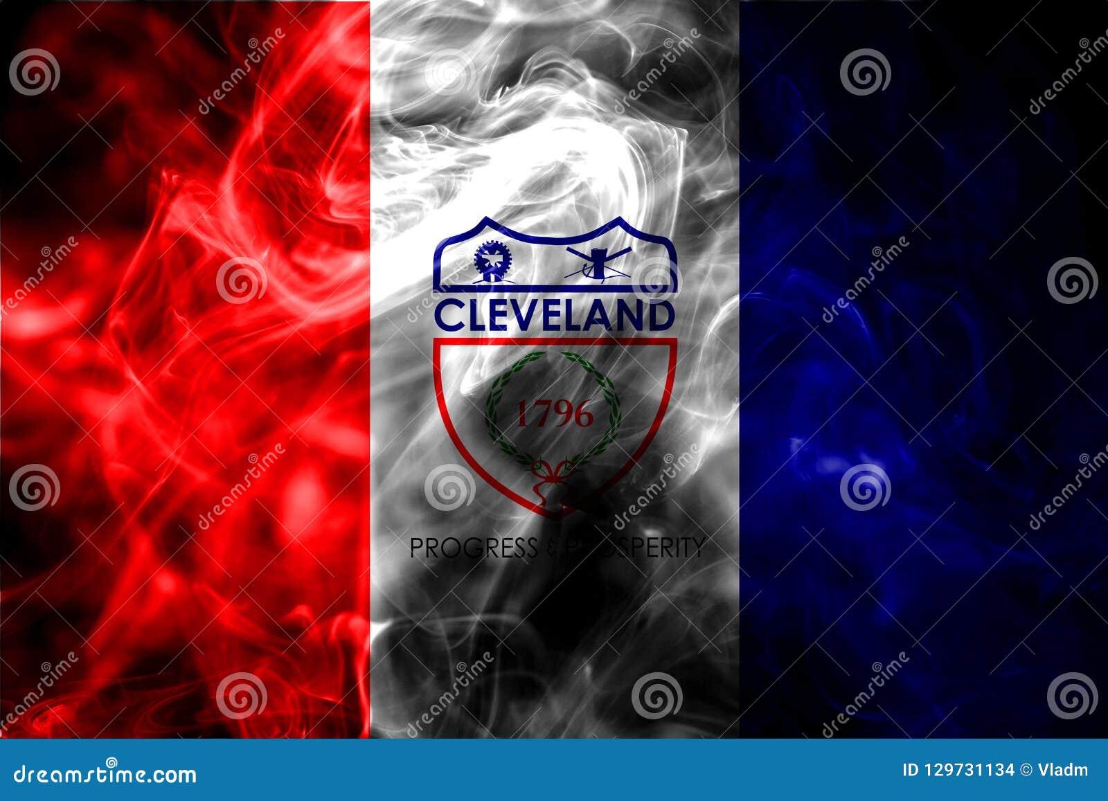 Bandera del humo de la ciudad de Cleveland, estado de Ohio, los Estados Unidos de América