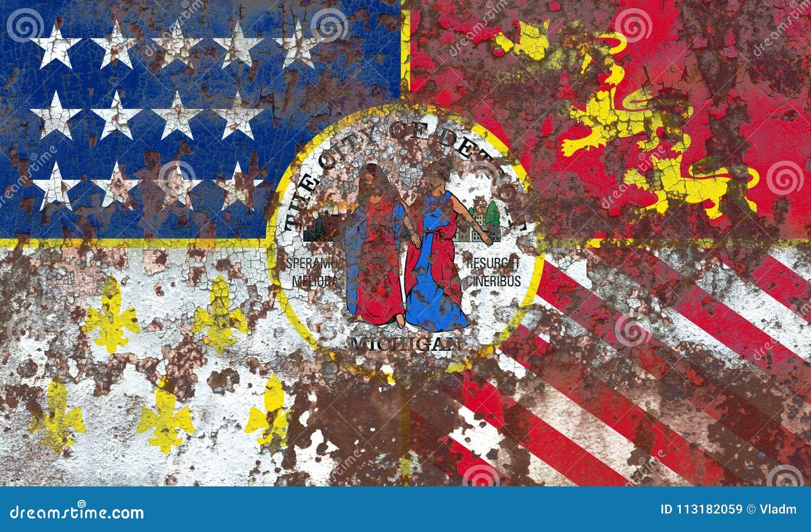 Bandera Del Humo De La Ciudad De Detroit, Estado De Michigan ...
