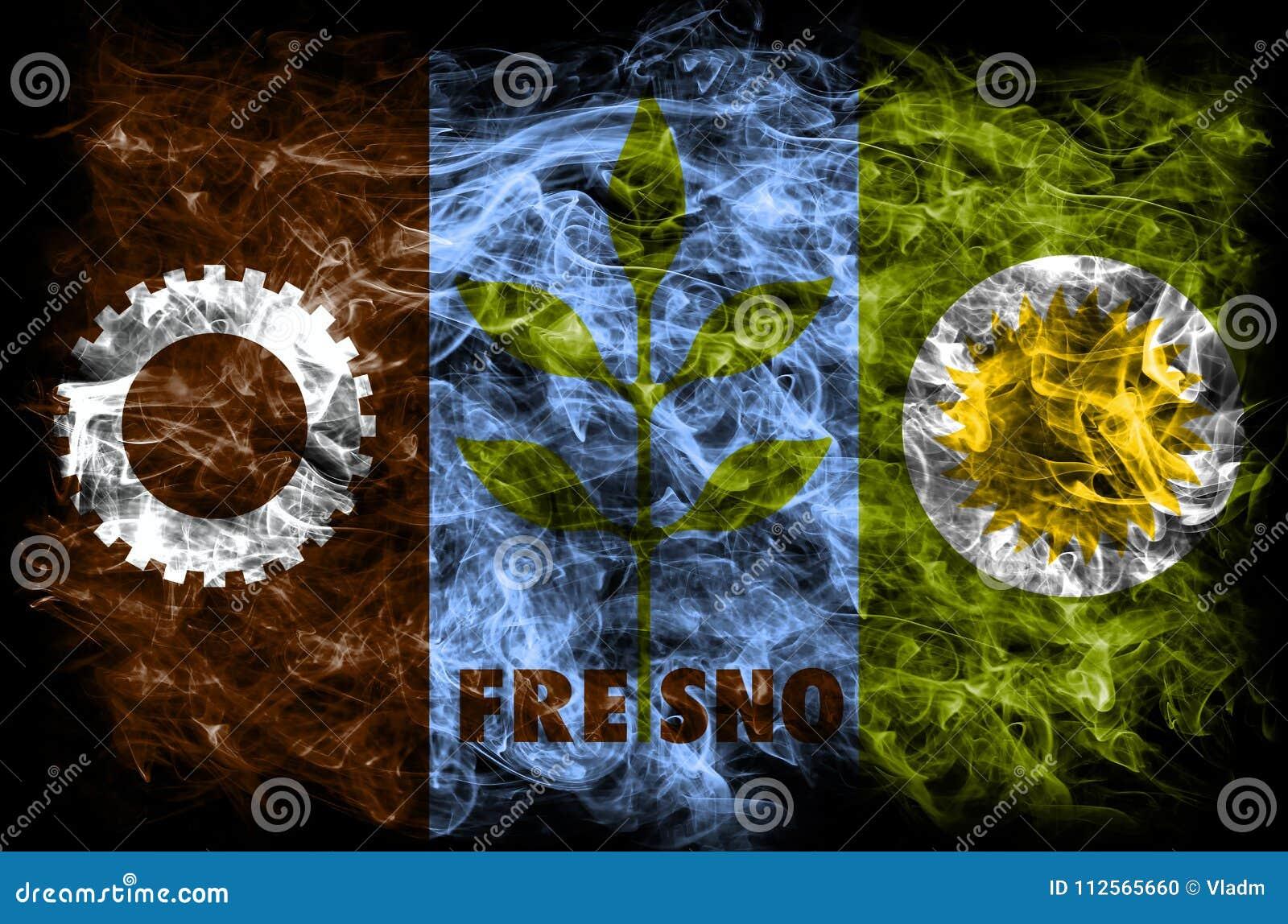 Bandera del humo de la ciudad de Fresno, estado de California, Estados Unidos de Ameri