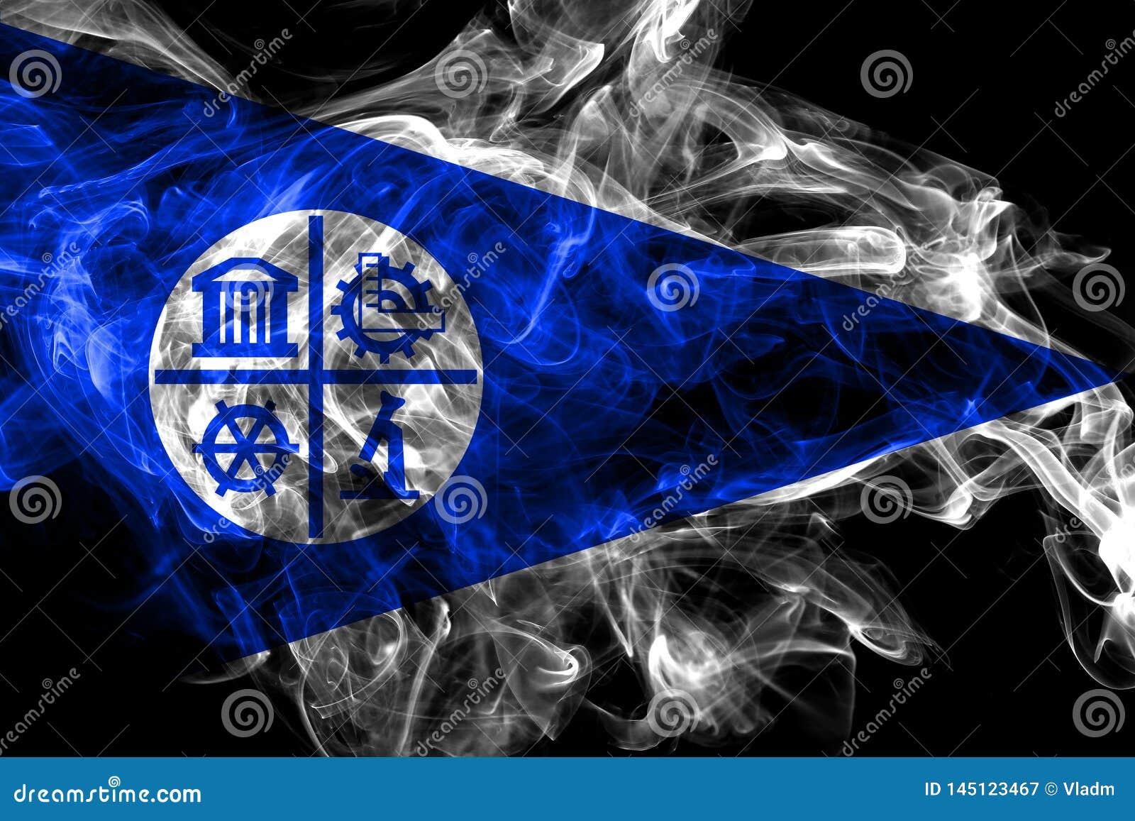 Bandera del humo de la ciudad de Minneapolis, estado de Minnesota, los Estados Unidos de Am?rica