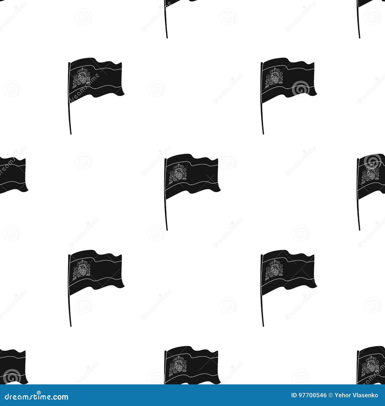 5c5dbe498d746 Bandera del icono de España en diseño negro aislado en el fondo blanco  Ejemplo del vector de la acción del símbolo del país de España