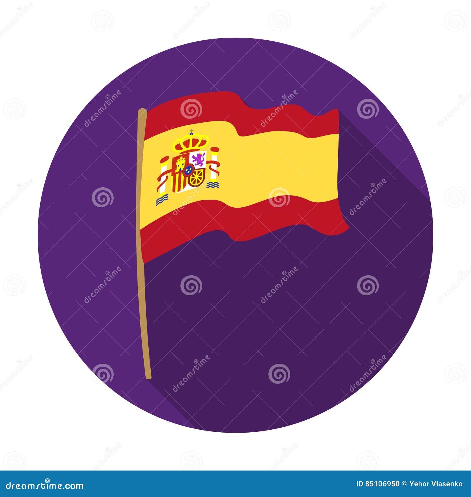 22accd054d470 Bandera del icono de España en diseño plano aislado en el fondo blanco  Ejemplo del vector de la acción del símbolo del país de España