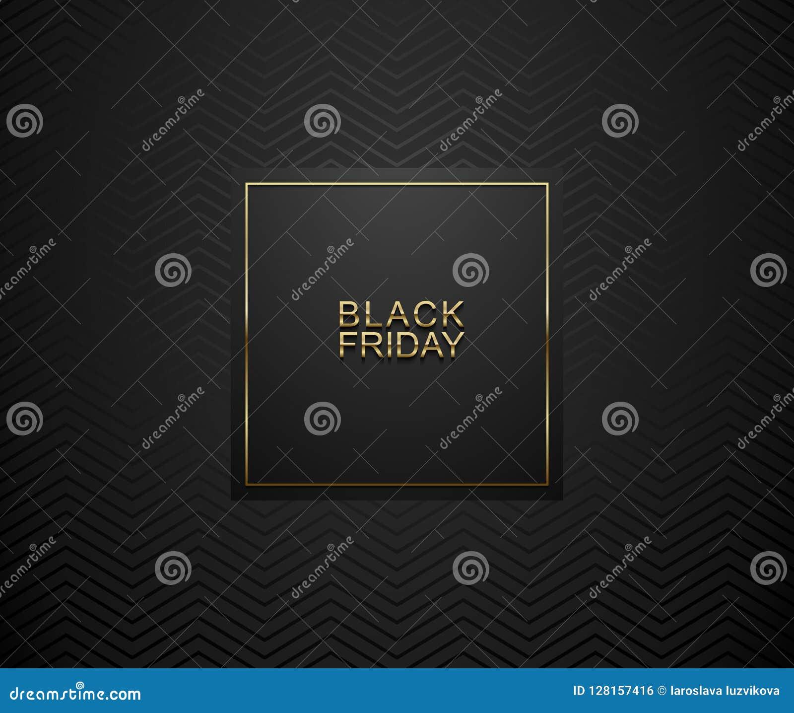 Bandera del lujo de Black Friday Texto de oro en marco de etiqueta de la casilla negra Fondo geométrico oscuro del modelo de zigz