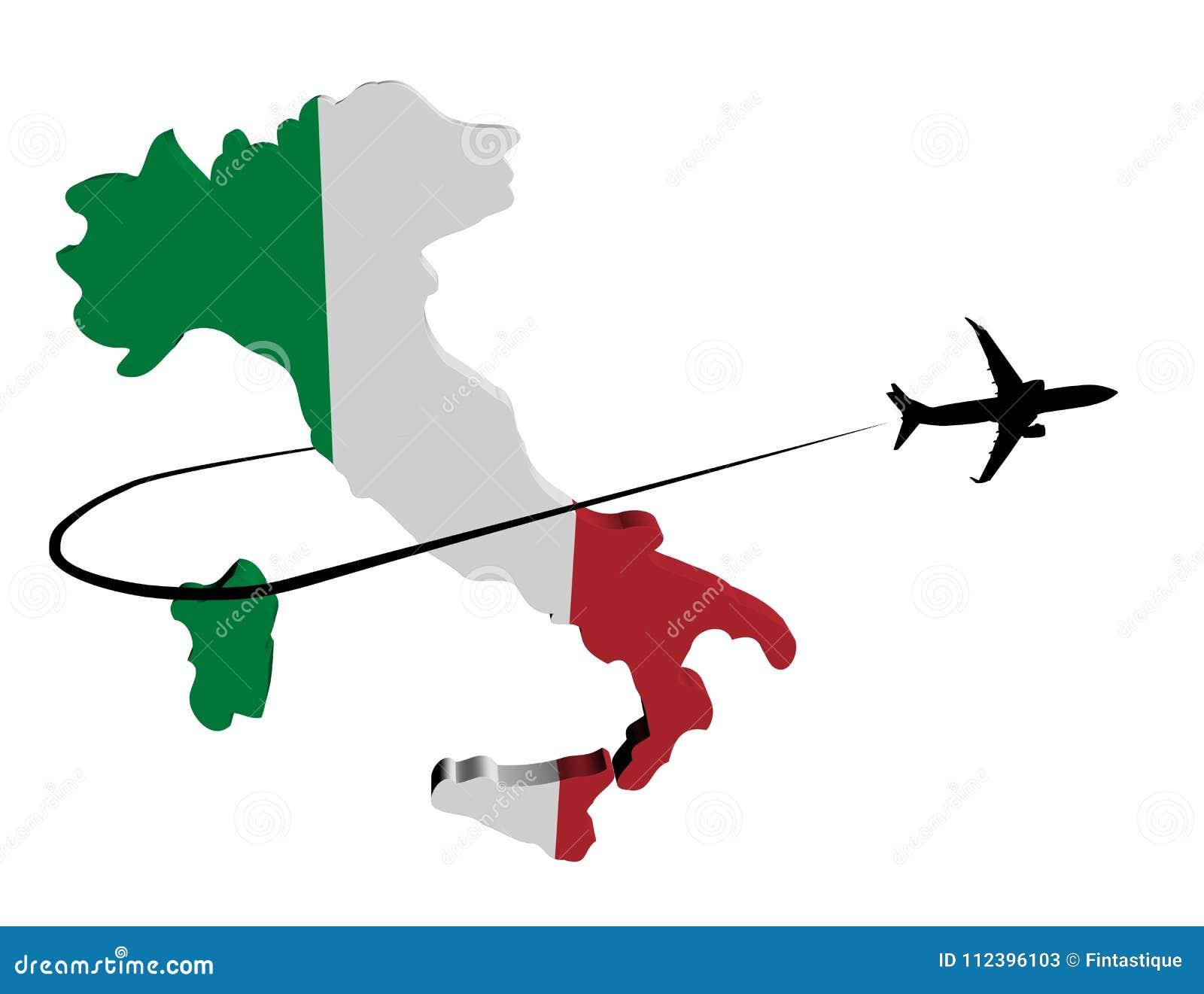 Bandera del mapa de Italia con el avión y el ejemplo de Swoosh