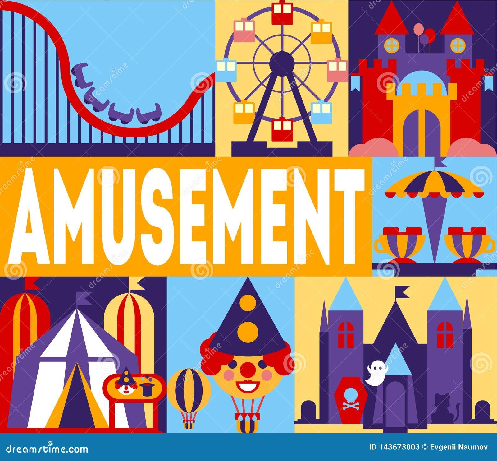 Bandera del parque de atracciones, carnaval, Funfair con los carruseles, roller coaster, ejemplo del circo del vector del castill