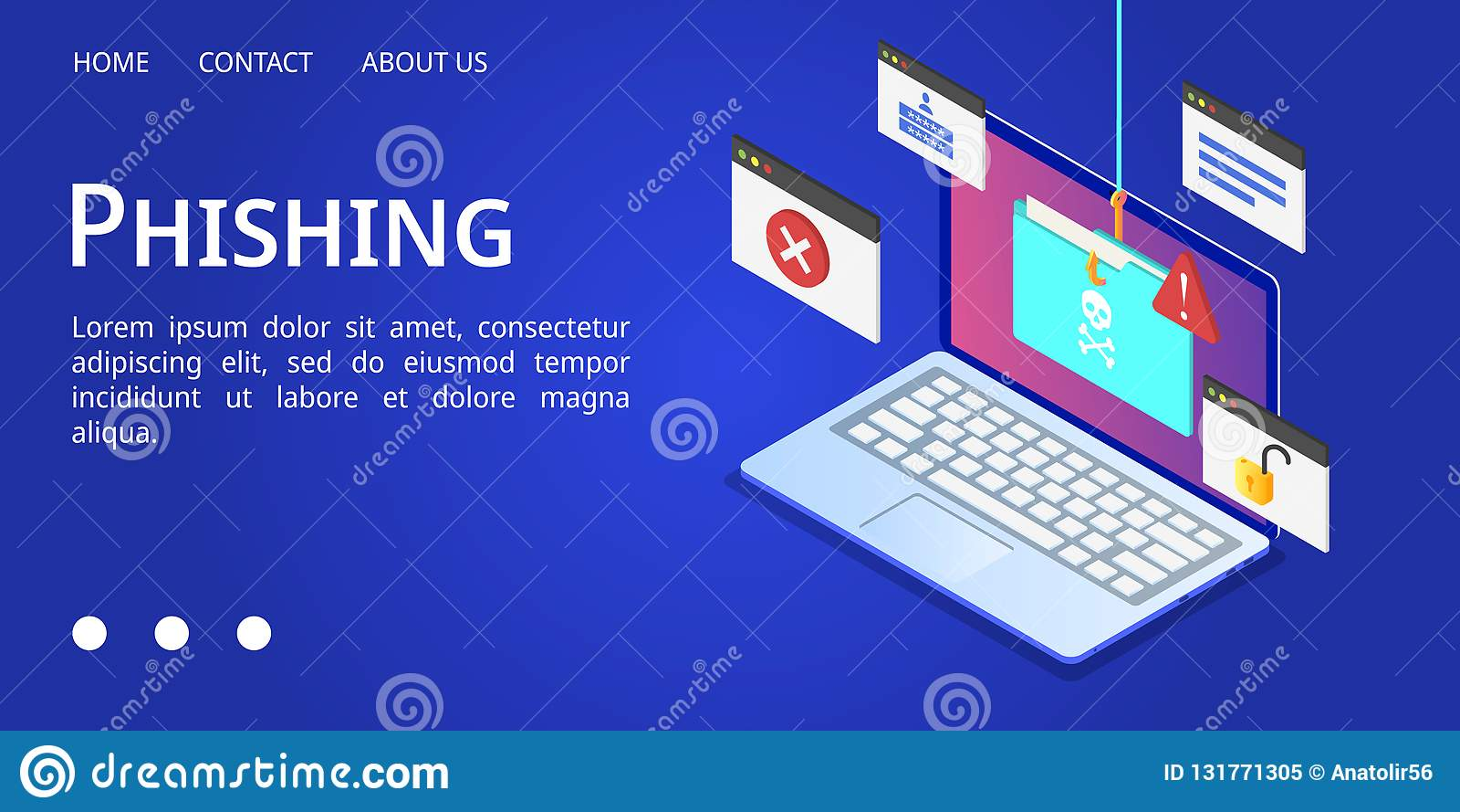 Bandera del phishing del ordenador portátil, estilo isométrico