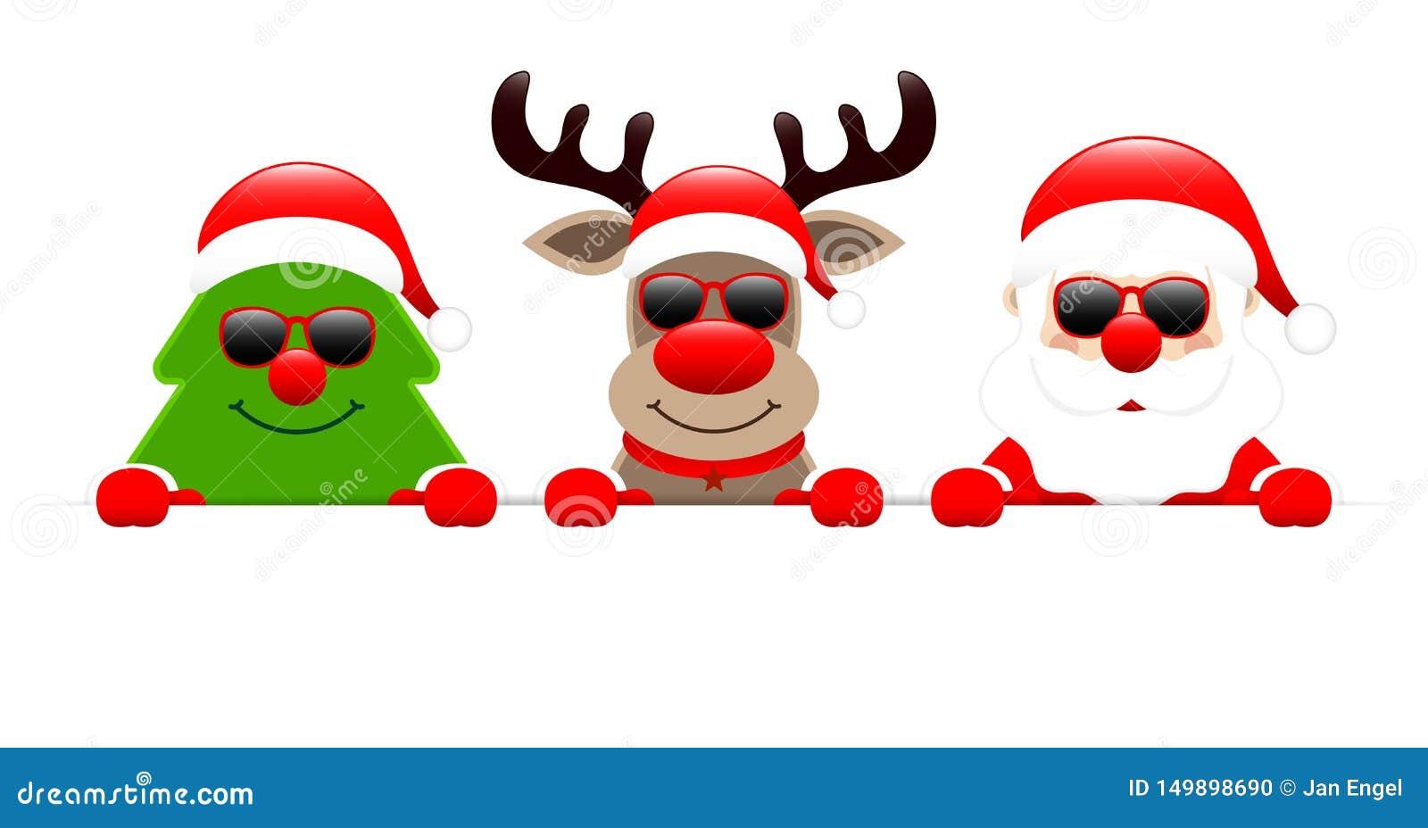 Bandera del reno y de Santa With Sunglasses Holding Horizontal del árbol de navidad