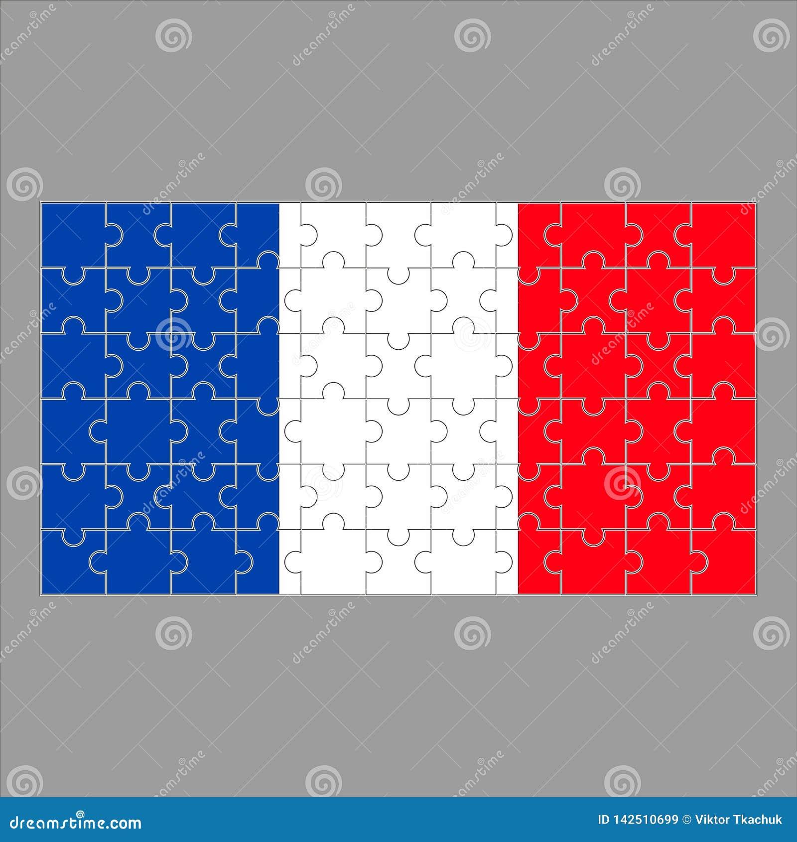 Bandera del rompecabezas de Francia en fondo gris