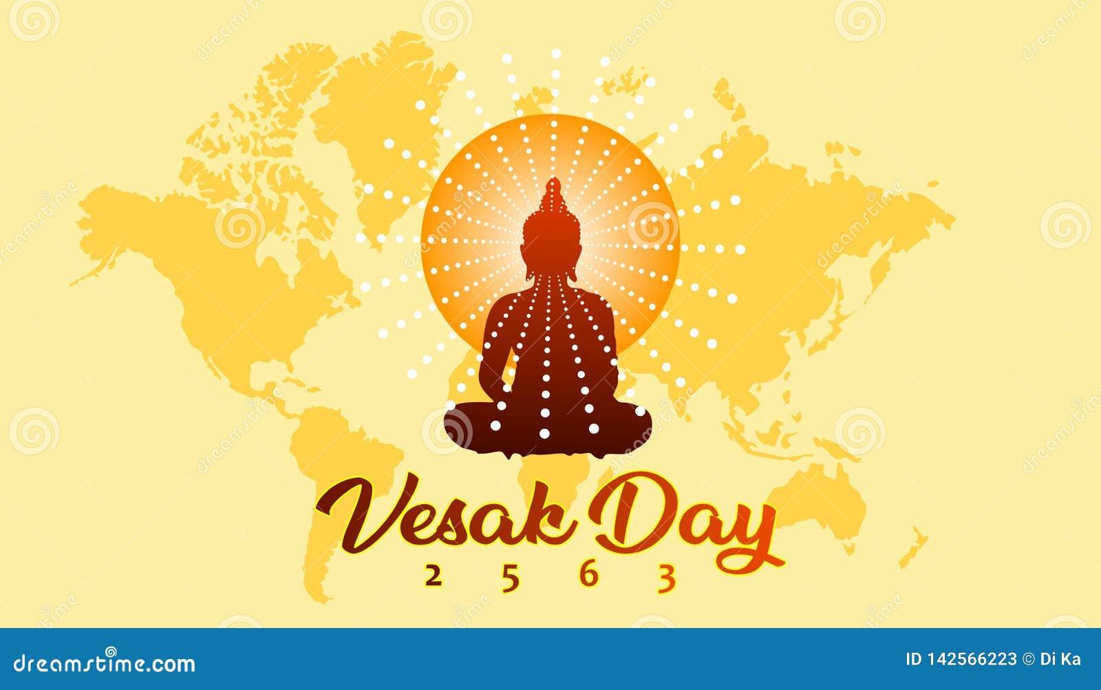 Bandera del saludo del día de Vesak con el fondo budista de la silueta y del mapa del mundo
