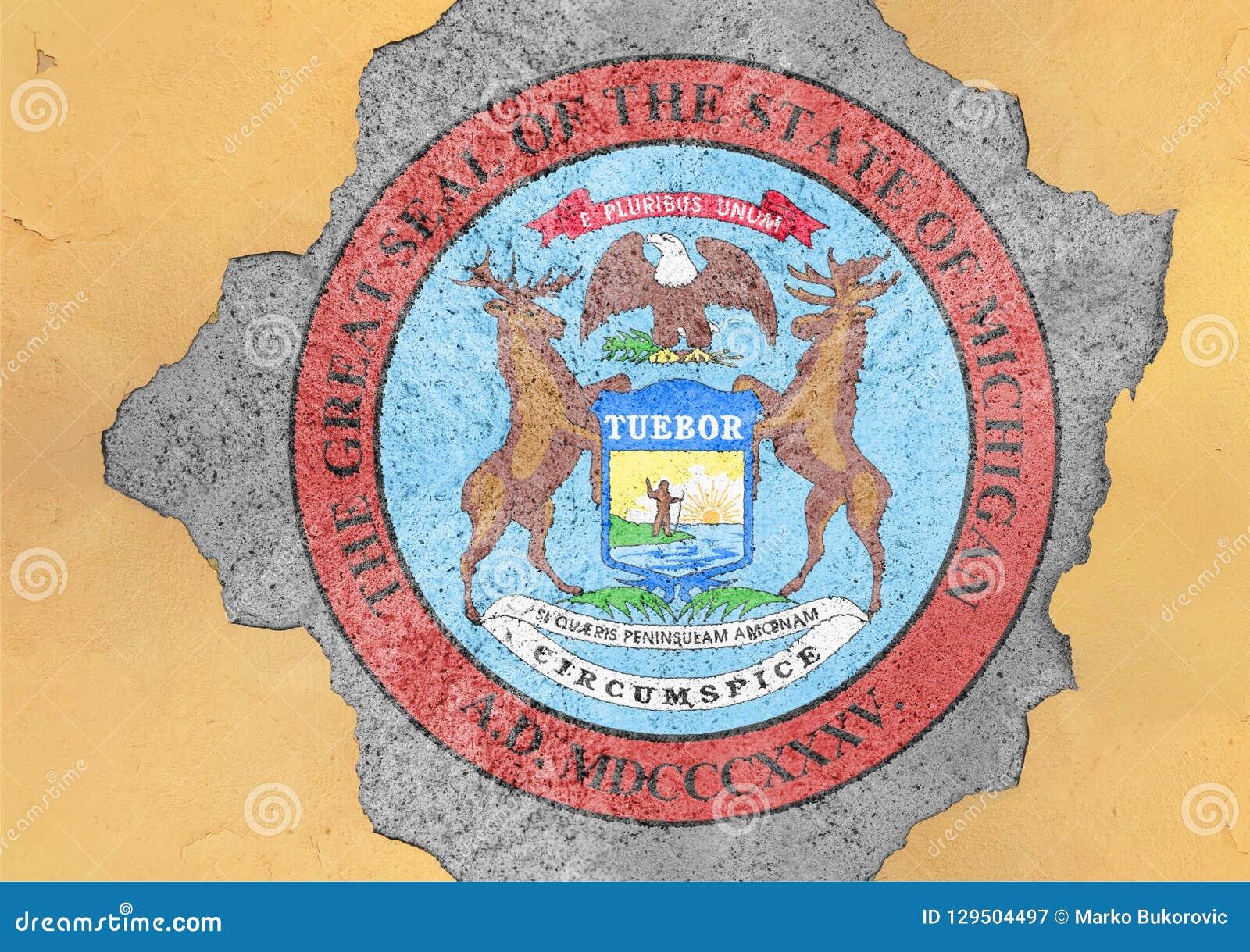 Bandera del sello de Michigan del estado de los E.E.U.U. en agujero agrietado concreto grande y pared quebrada