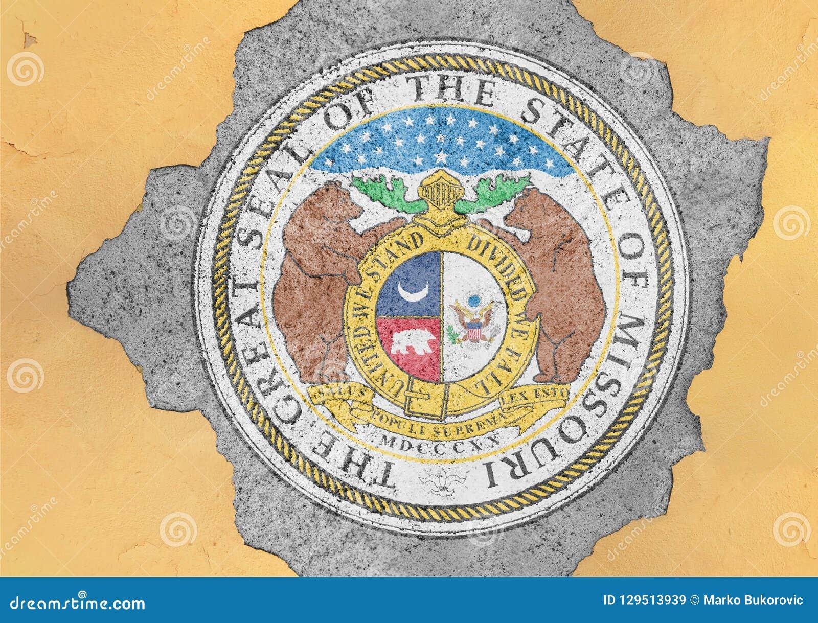 Bandera del sello de Missouri del estado de los E.E.U.U. pintada en el agujero concreto y la pared agrietada