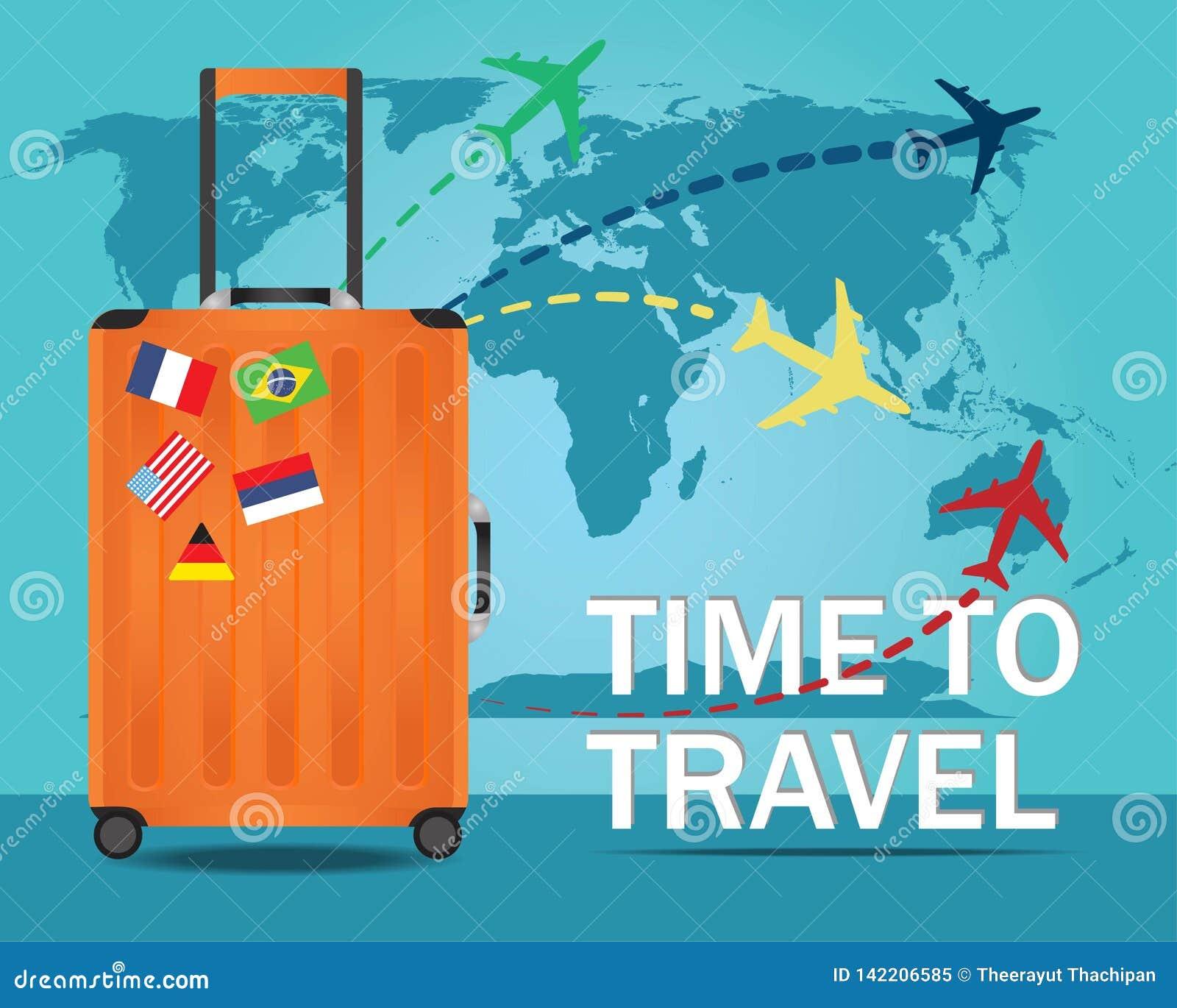Bandera del viaje con la maleta para viajar