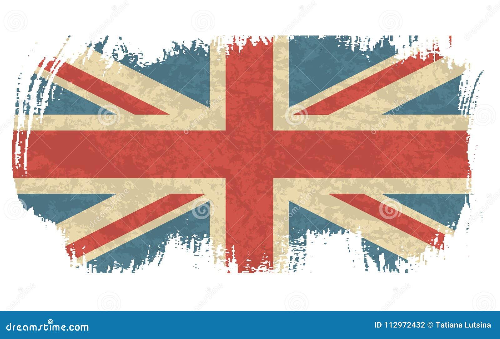 Bandera del vintage del ejemplo del vector de Reino Unido Bandera británica sucia Fondo retro de la bandera de Gran Bretaña del d