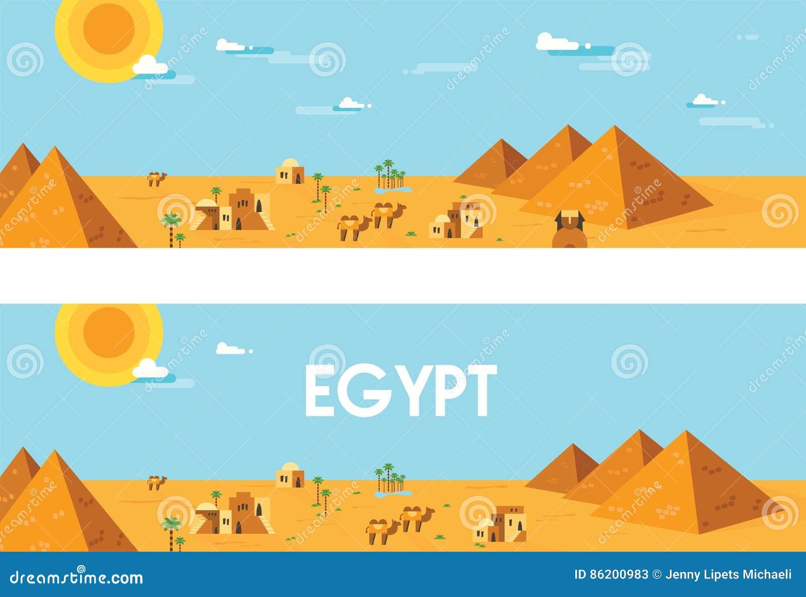 Bandera Del Web Paisaje De Egipto Antiguo Ilustración Editable Del ...
