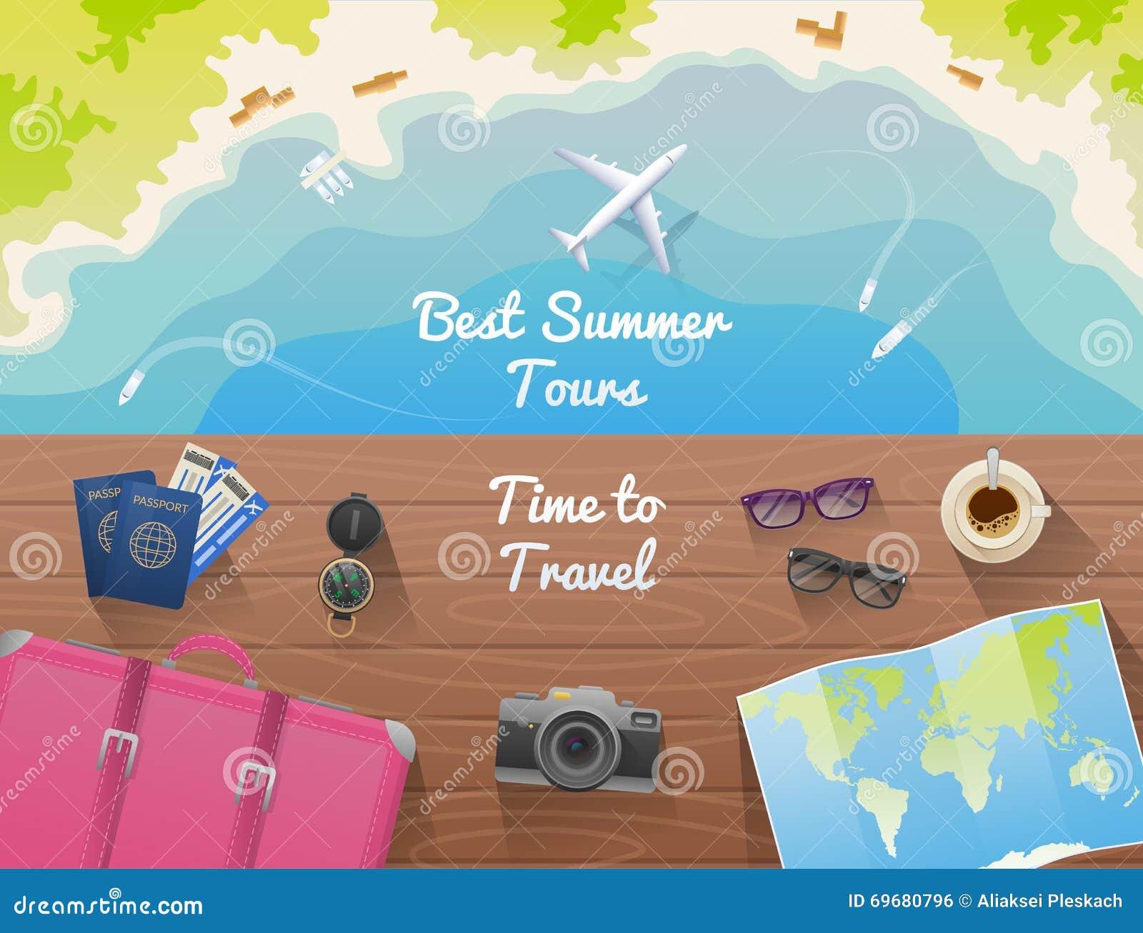 Bandera del web para la agencia de viajes del sitio dise o plano visi n superior ilustraci n - Banera de viaje ...